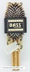 Bass Brushes Large Oval: Cushion, 100% Wild Boar/White Nylon Bristles, Beveled  Wood Handle