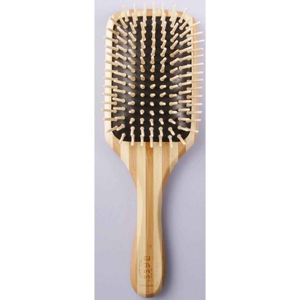 Bass Brushes Large Square Paddle Brush: Cushion, Wood Bristle.Stripped Bambood Handle Only