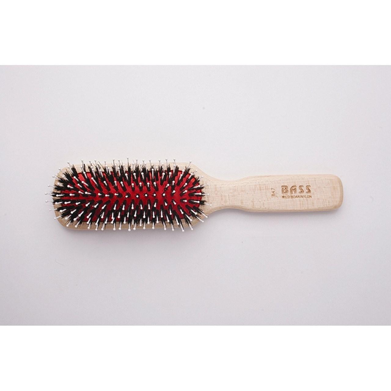 Bass Brushes Professional Style: Cushion, 100% Wild Boar/White Nylon,  Wood Handle